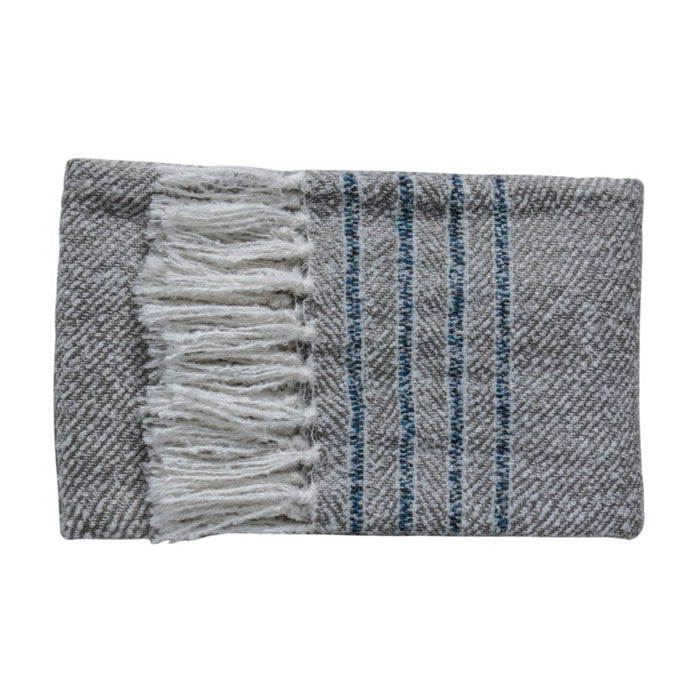 Tucker Stripe Throw Grey - Notbrand