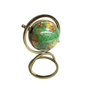 Vintage Green & Brass World Globe - Notbrand