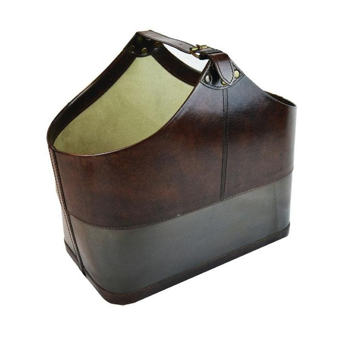 Provo Dark Leather Magazine Basket with Metal Base - Notbrand