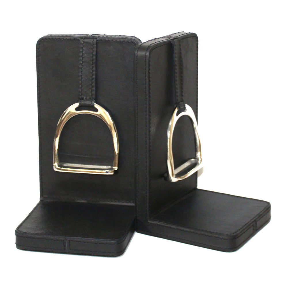 Set of 2 Black Leather Bookends with Stirrup - Large - Notbrand