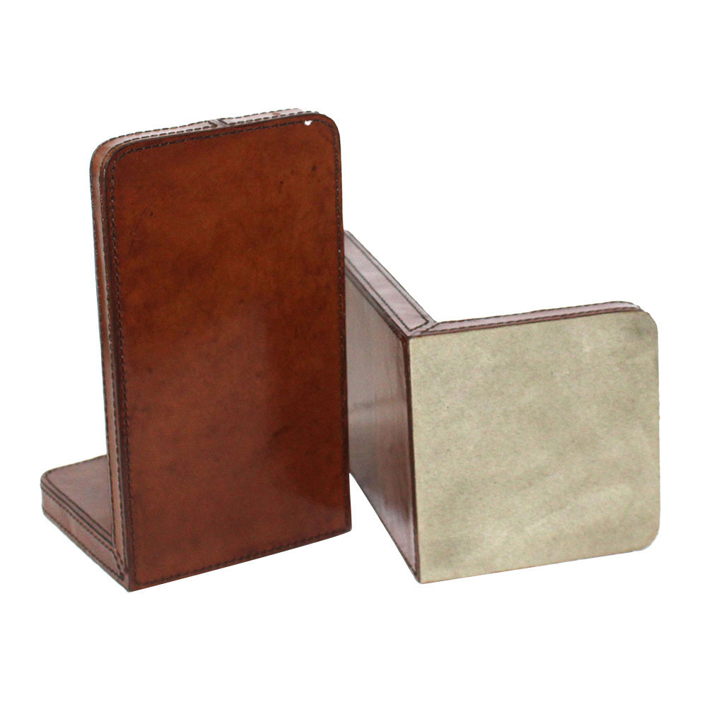 Set of 2 Tan Leather Bookends with Stirrup - Large - Notbrand