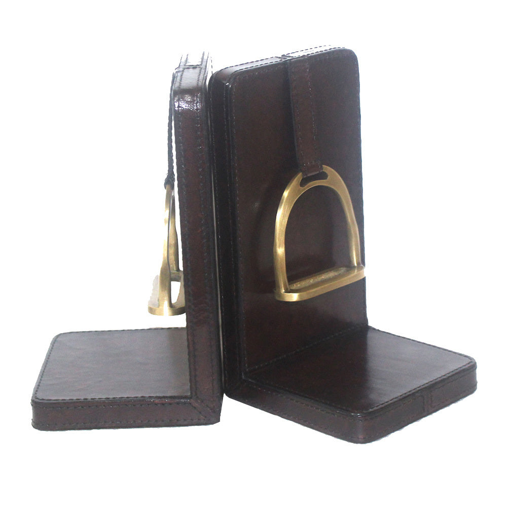 Set of 2 Dark Leather Bookends with Stirrup - Large - Notbrand