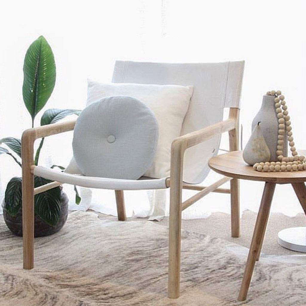 Jasper Teak & Leather Chair White