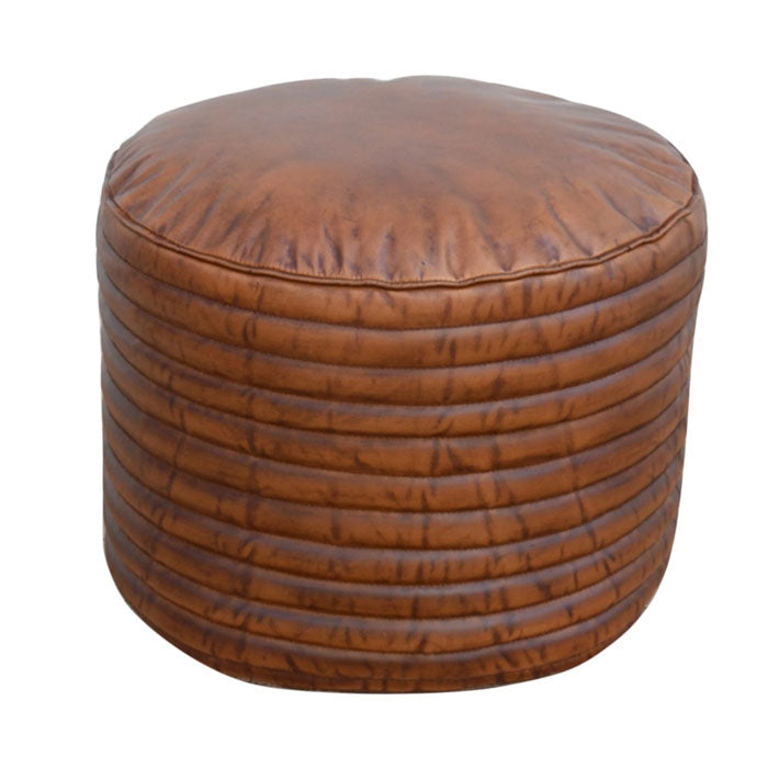 Caramel Grooved Leather Ottoman - Notbrand