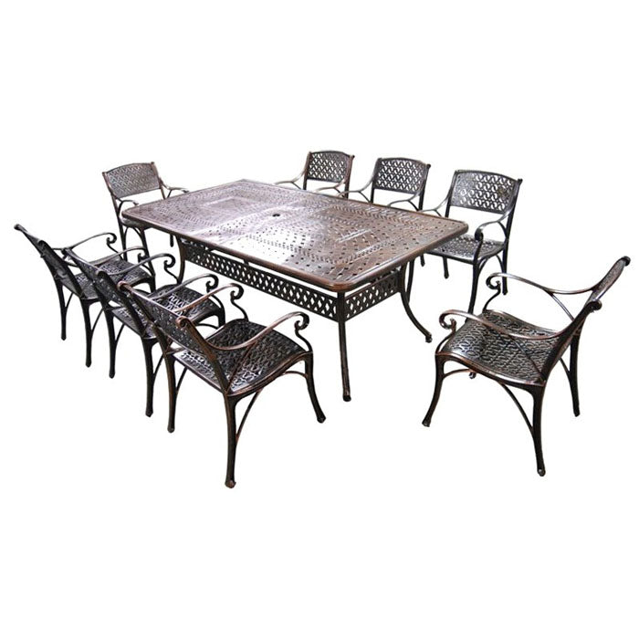 9 Piece Carly Cast Aluminium Outdoor Dining Table and Chairs Setting
