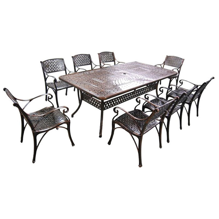9 Piece Carly Cast Aluminium Outdoor Dining Table and Chairs Setting - Notbrand