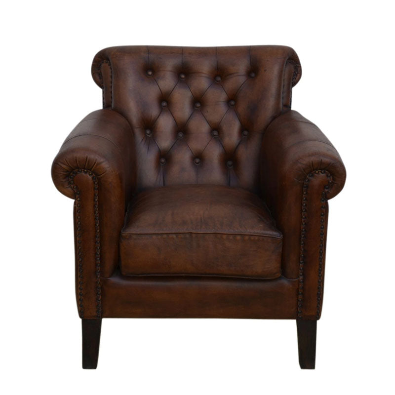 Chocolate Leather Armchair - Notbrand