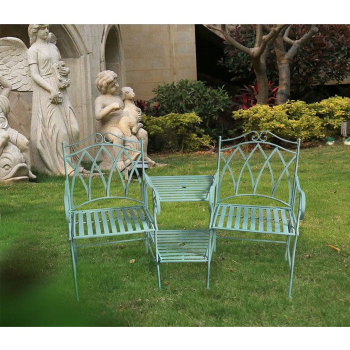 Set of 3 Sage Wrought Iron Companion Chairs & Table
