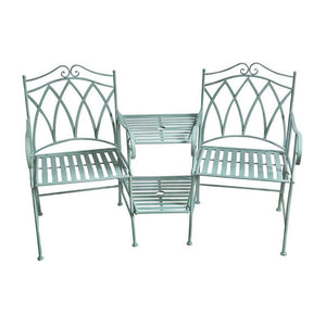 Set of 3 Sage Wrought Iron Companion Chairs & Table - Notbrand