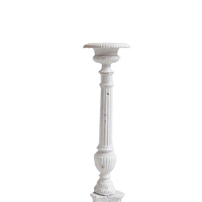 Cast Iron Candle Stick Antique White 42cm