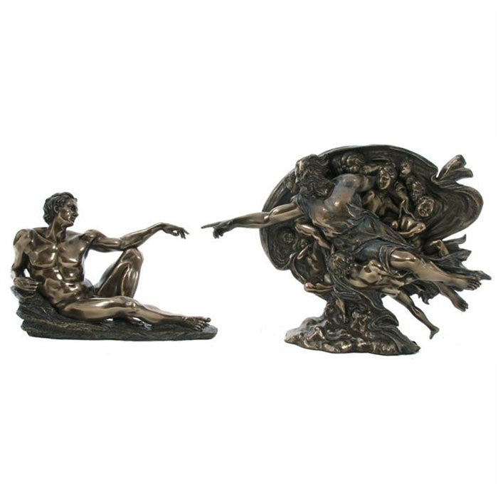 "2 Pieces ""Creation Of Adam"" - Michelangelo Bronze Figurine"