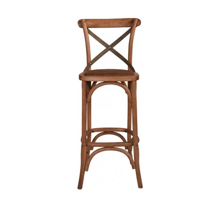 Enzo Cross Back Oak Bar Stool With Grey Metal Straps