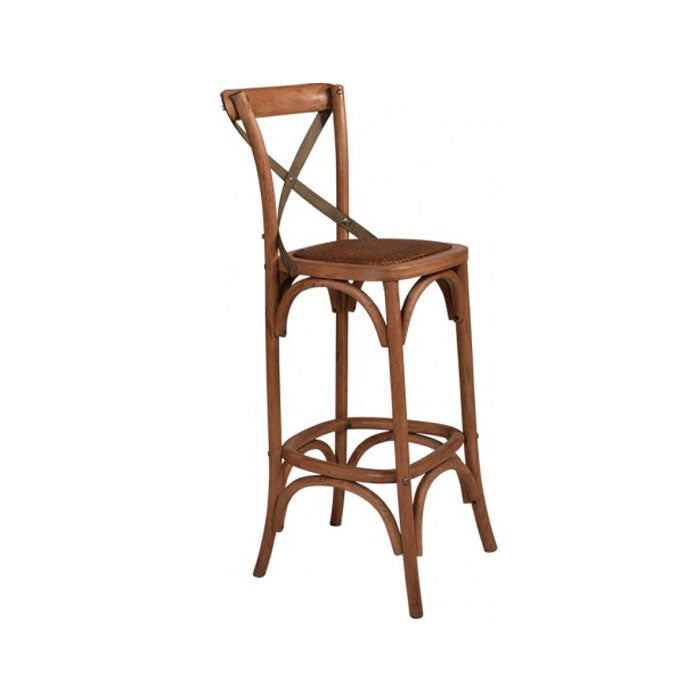 Cross Back Oak Bar Stool With Grey Metal Straps