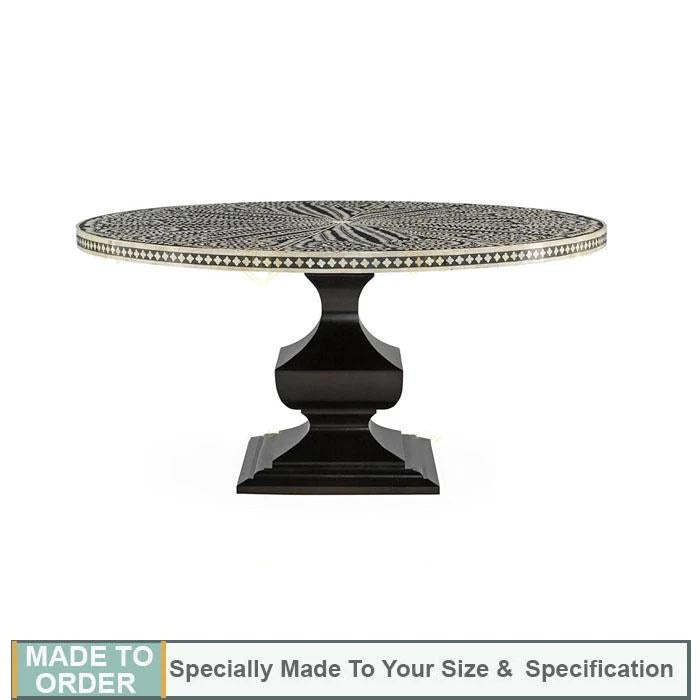 Carla Bone Inlay Round Floral Dining Table Black - Notbrand
