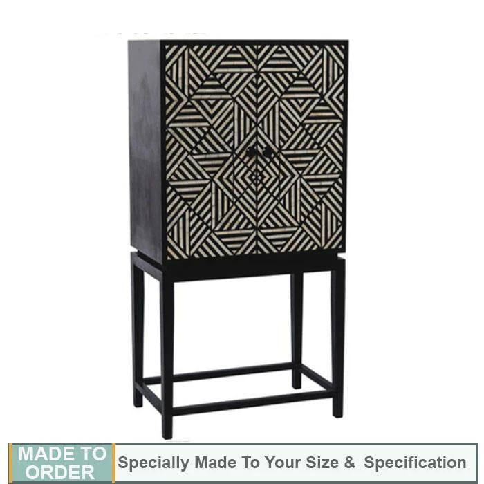 Carlos+Bone+Inlay+Geometric+Design+Bar+Cabinet+in+Black