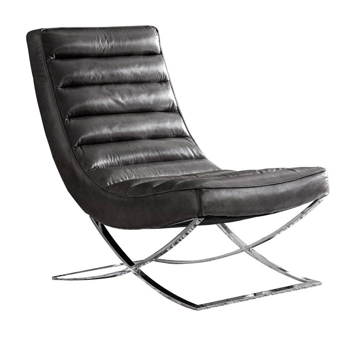 Malachi Lounger Chair Black Leather - Notbrand