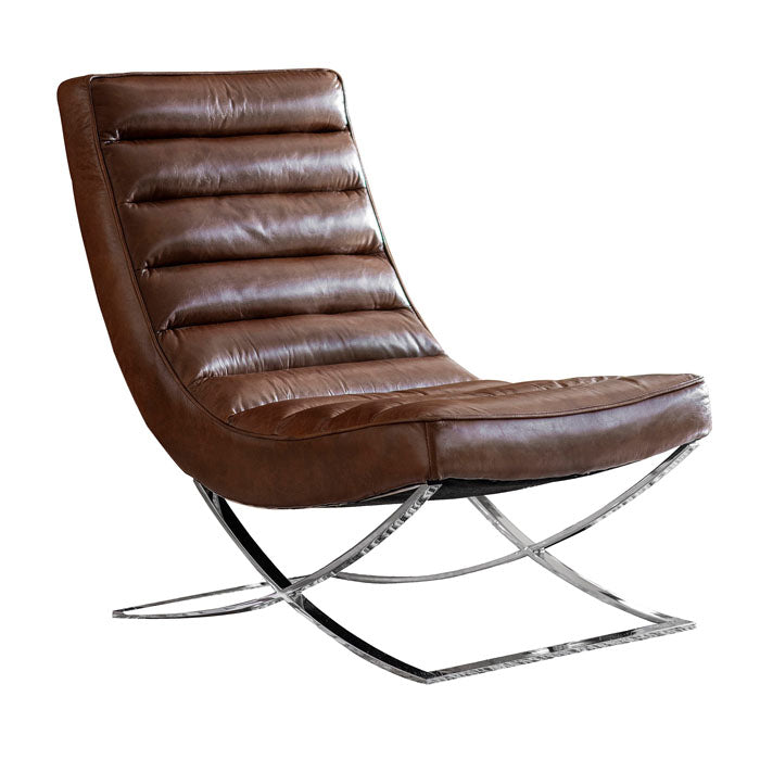 Malachi Lounger Chair Brown Leather - Notbrand