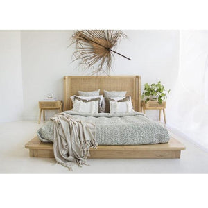 Malakai Timber and Rattan Bed – Queen Size - Notbrand