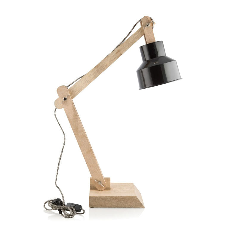 Natural Adjustable Table Lamp with Black Head - Notbrand