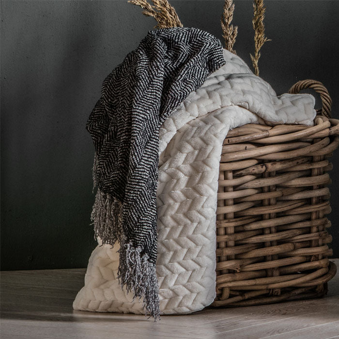 Juniper Herringbone Throw Grey - Notbrand