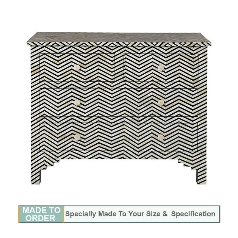 Avni Bone Inlay 4 Drawer Chest Dresser Chevron Design Black and White - Notbrand