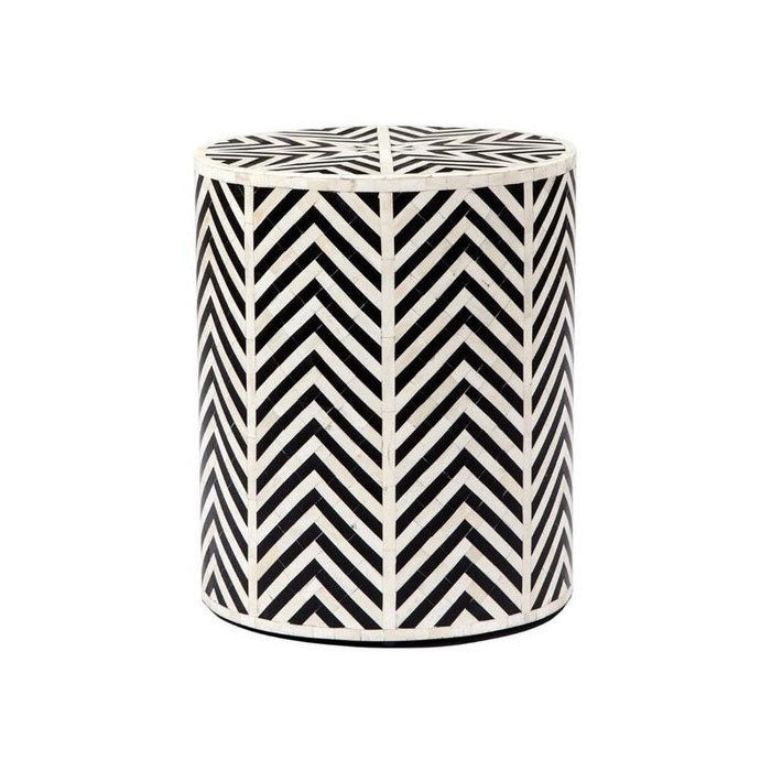 Emilio Chevron Black Bone Inlay Round Stool / Side table - Notbrand