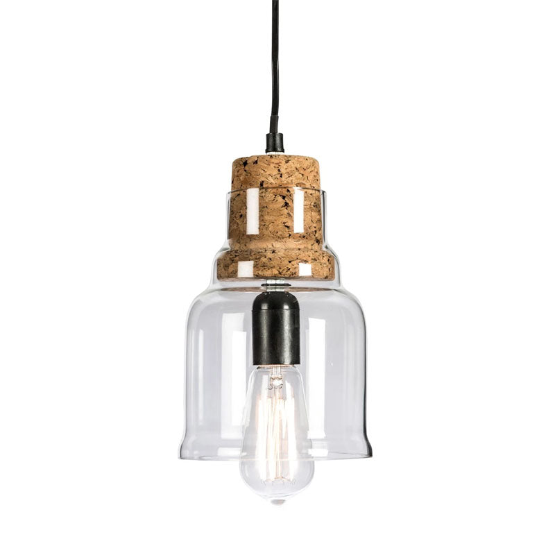 Clear Glass Bowl Pendant Lamp With Cork Holder - Notbrand