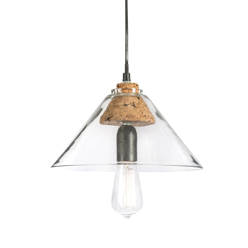 Clear Funnel Glass Pendant Lamp With Cork Holder - Notbrand