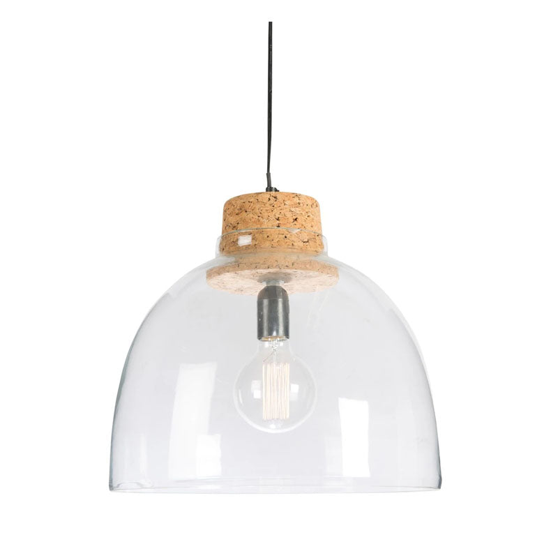 Clear Glass Dome Pendant Lamp With Cork Holder - Notbrand