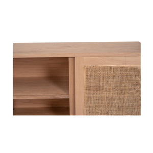 Coogee Four Door Sideboard American Oak and Rattan - Notbrand