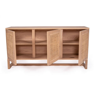 Coogee Three Door Sideboard American Oak and Rattan - Notbrand