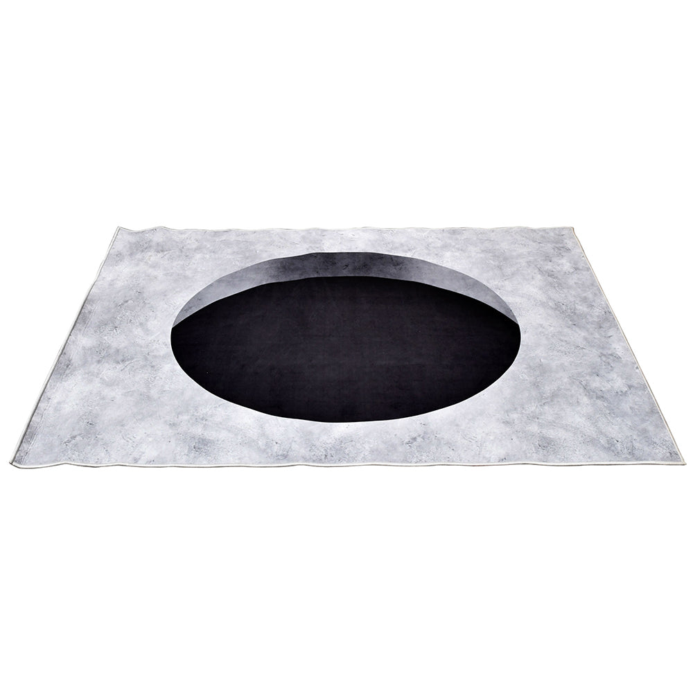 Concrete Round Hole Printed Optical Rug - Notbrand