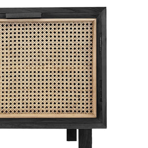Cooper Black Rattan Bedside Table - Notbrand