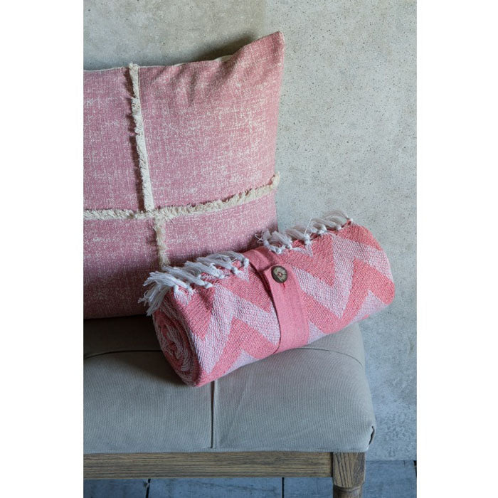 Gracie Cotton Chevron Throw Blush - Notbrand