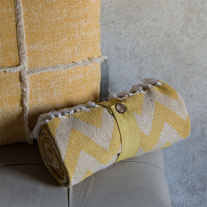 Gracie Cotton Chevron Throw Ochre - Notbrand