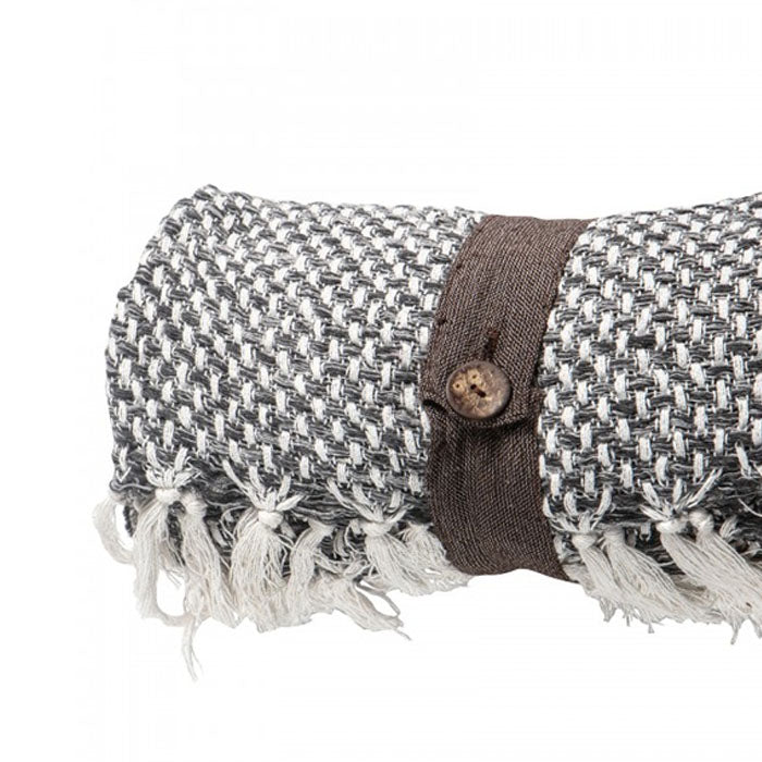 Vanessa Cotton Cubic Throw Grey - Notbrand