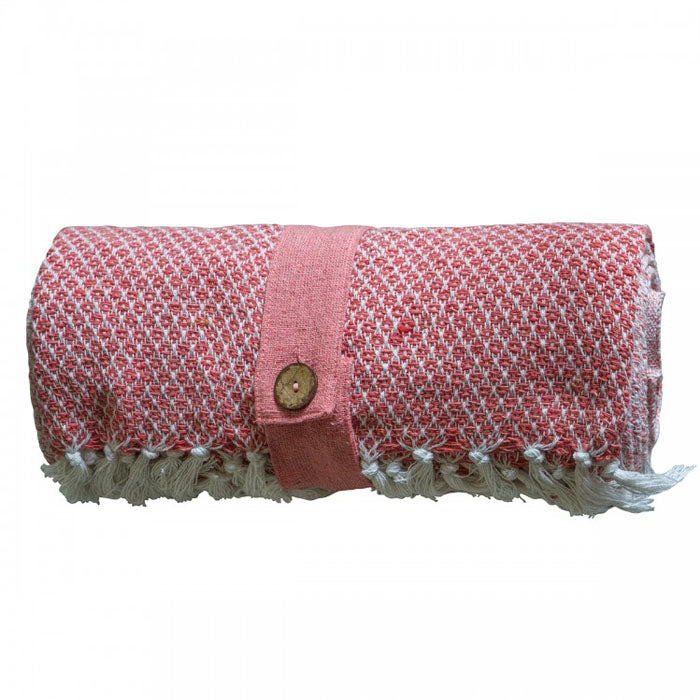 Malia Cotton Diamond Throw Blush - Notbrand