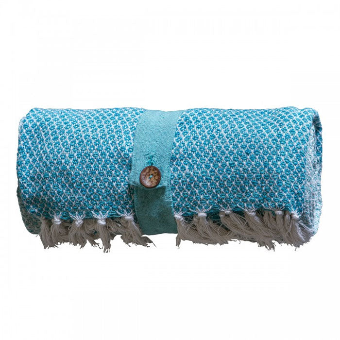 Malia Cotton Diamond Throw Teal - Notbrand
