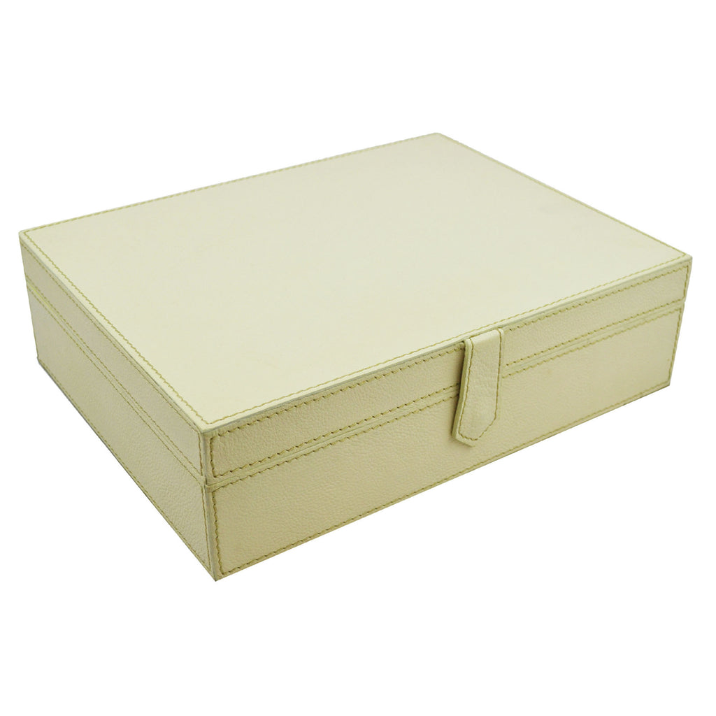 Pomellato Off White Leather Jewellery Box with Mirror