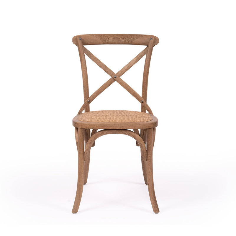 Cross Back Solid Oak Chair - Natural - Notbrand