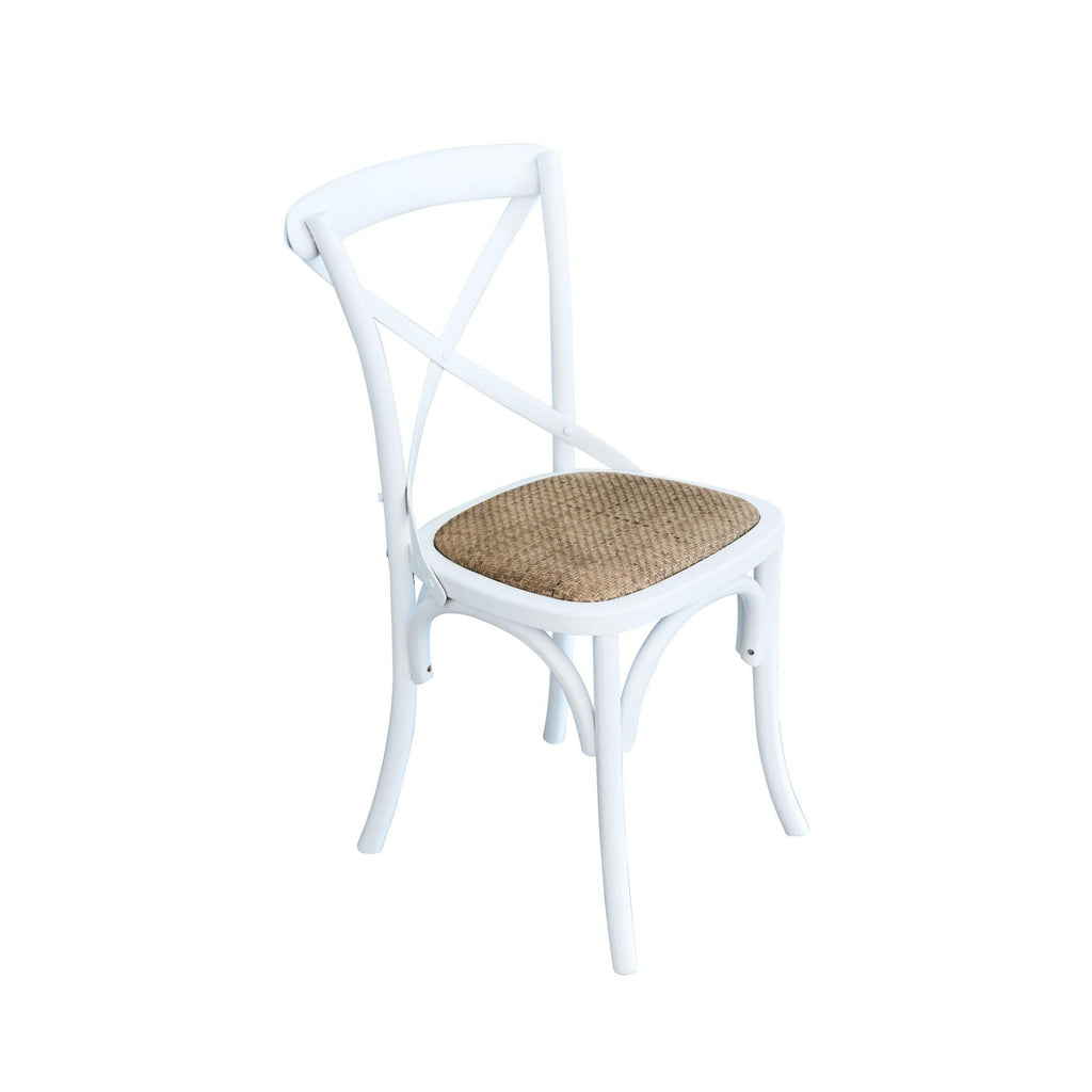 Cross Back Solid Oak Chair - White - Notbrand