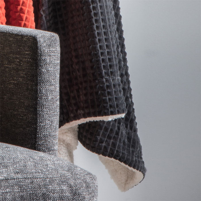 Reese Embossed Cubic Throw Charcoal - Notbrand