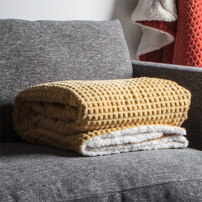 Reese Embossed Cubic Sherpa Throw Ochre - Notbrand