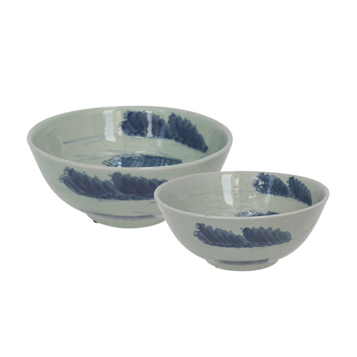Set of 2 Cumulus Hand Painted Ceramic Bowls - Notbrand