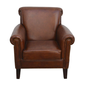 Chesterville Style Distressed Rich Brown Leather Armchair - Notbrand