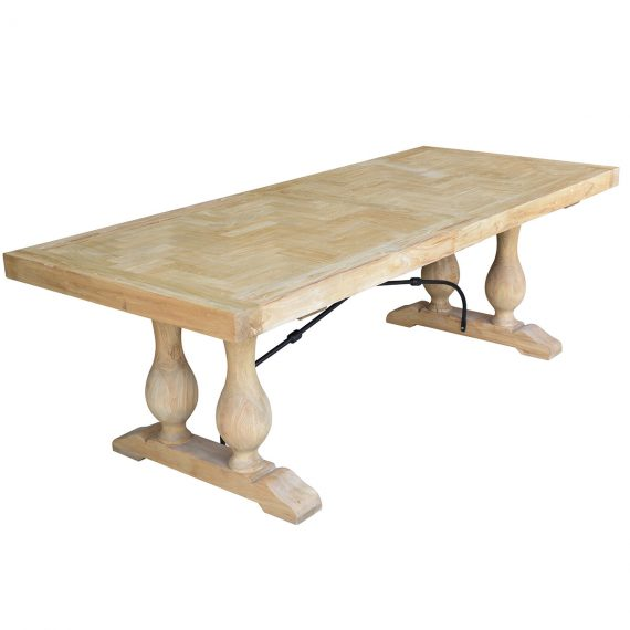 Boston Parquetry Dining Table Reclaimed Elm 2.4m - Notbrand