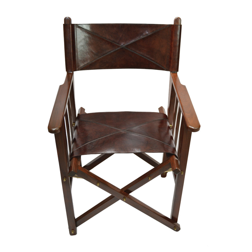 Dark Brown Leather Portable Director's Chair - Notbrand