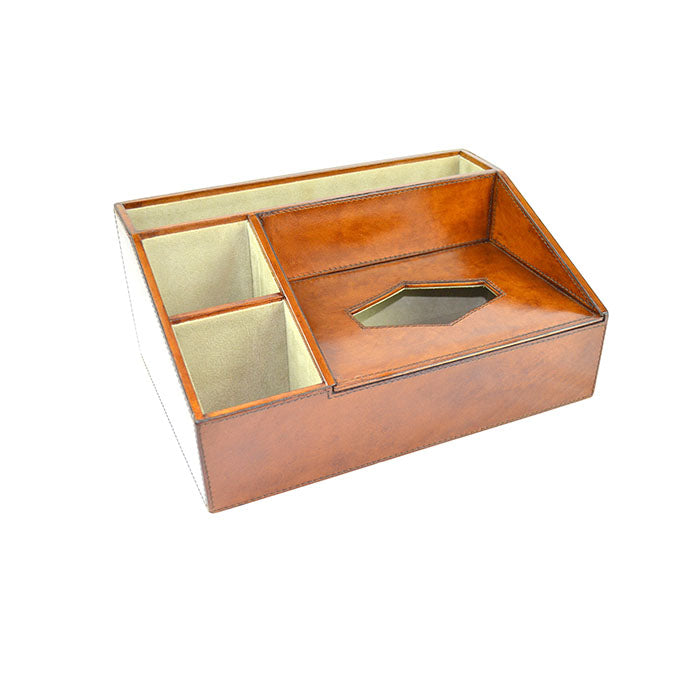 Cerruti Tan Leather Desk Organiser - Notbrand