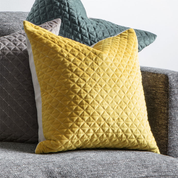 Stellan Diamond Quilted Cushion Ochre