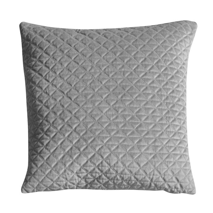 Diamond Quilted Cushion Silver
